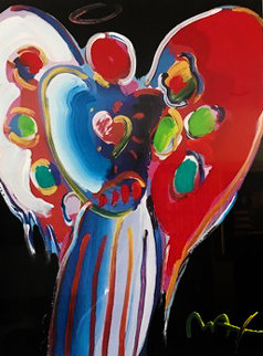 Angel With Heart (On Black) 2000 25x17 Works on Paper (not prints) by Peter Max