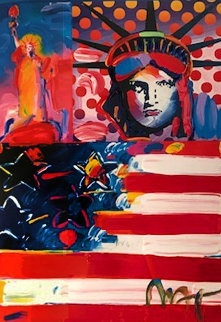 God Bless America II Works on Paper (not prints) by Peter Max
