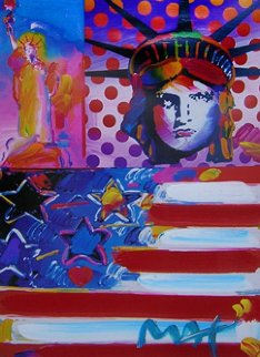 God Bless America 2 Unique 2001 31x38 Works on Paper (not prints) - Peter Max