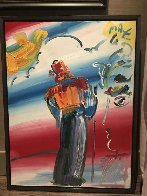 Monk With Profile  1990 40x30 Super Huge Original Painting by Peter Max - 1