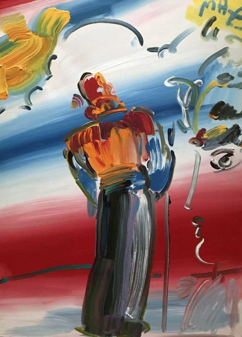 Monk With Profile  1990 40x30 Super Huge Original Painting by Peter Max