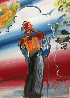 Monk With Profile  1990 40x30 Super Huge Original Painting - Peter Max