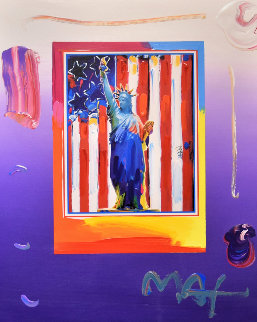 United We Stand 2005  Unique 28x32 Works on Paper (not prints) by Peter Max
