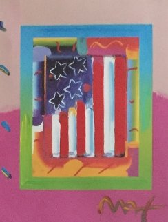 Flag With Heart on Blends   Vertical Unique 2005 24x24 Works on Paper (not prints) by Peter Max