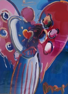 Angel With Heart Unique 2000 28x21 Works on Paper (not prints) by Peter Max