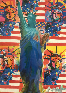 God Bless America - With Five Liberties Unique 2001 38x32 Works on Paper (not prints) by Peter Max