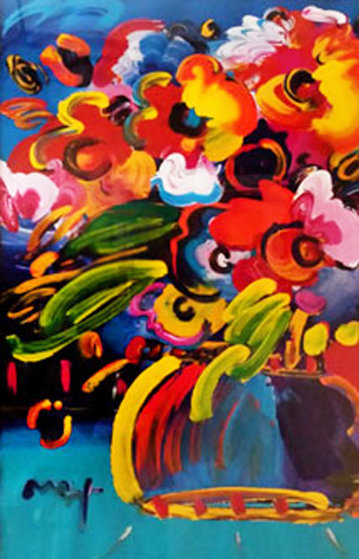Flowers  Embellished Unique 2007 36x24 Works on Paper (not prints) by Peter Max
