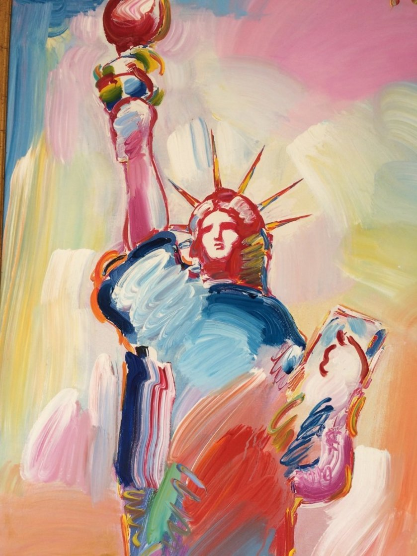Statue of Liberty  Unique  60x30 Huge Original Painting by Peter Max