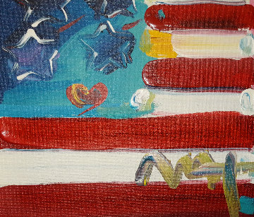 Flags   Unique 2004 18x18 Original Painting - Peter Max