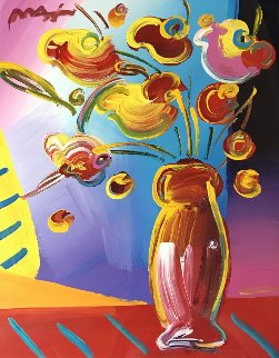 Vase of Flowers 2002 34x30 Works on Paper (not prints) - Peter Max