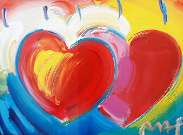 Two Hearts  Unique 20x30 Works on Paper (not prints) by Peter Max