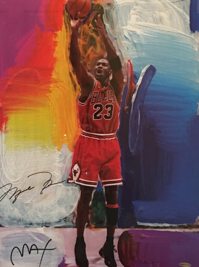 Last Shot (Michael Jordan) dual signature  1999 Limited Edition Print by Peter Max