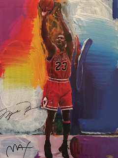 Last Shot(Michael Jordan) dual signature  1999 Limited Edition Print by Peter Max