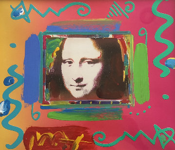 Mona Lisa Collage Unique 1997 21x23 Works on Paper (not prints) by Peter Max