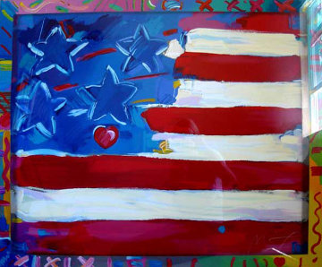 Flag with a Heart 1988 Limited Edition Print - Peter Max