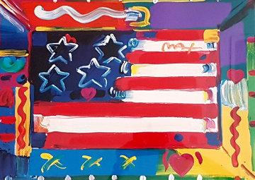Flag  with Heart 2000 32x38 Works on Paper (not prints) by Peter Max