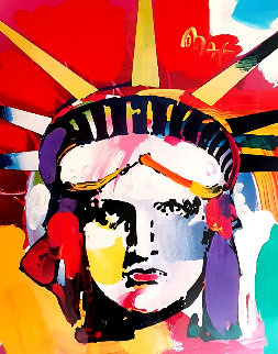 Statue of Liberty 2000 43x37 Huge Works on Paper (not prints) - Peter Max
