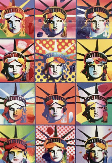 Liberty And Justice For All II Unique 2005 40x34 Huge Works on Paper (not prints) - Peter Max