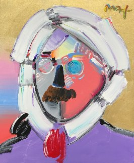 Andy With a Mustache 2007 31x35 Original Painting - Peter Max