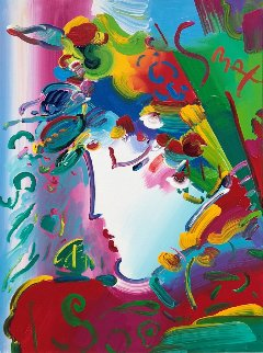 Blushing Beauty 2007 43x53 Original Painting - Peter Max