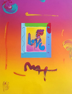Love II  Mini Unique 2008 27x31 Works on Paper (not prints) by Peter Max