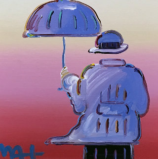 Umbrella Man 2015 19x19 Original Painting - Peter Max