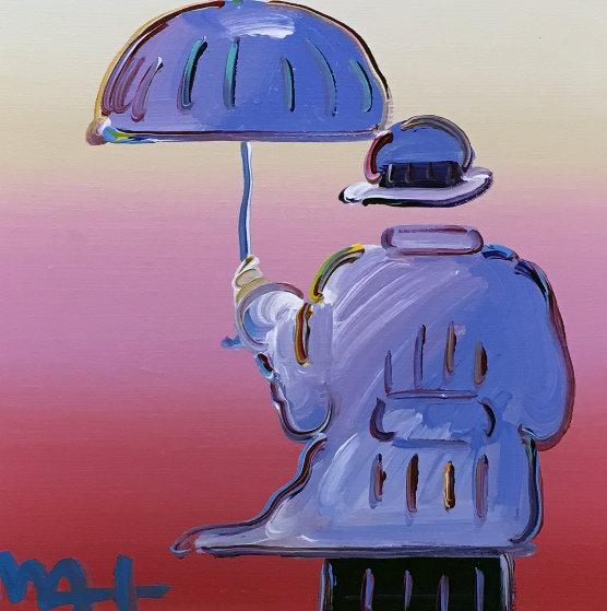 Umbrella Man Unique 2015 20x20 Original Painting by Peter Max