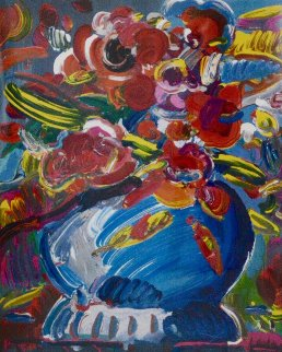 Flowers in a Blue Vase 1992 Limited Edition Print by Peter Max