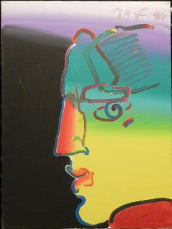 Untitled Face 1989 24x18 Original Painting - Peter Max