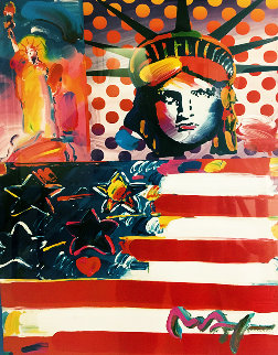 God Bless America II Unique   2001 24x18 Works on Paper (not prints) by Peter Max