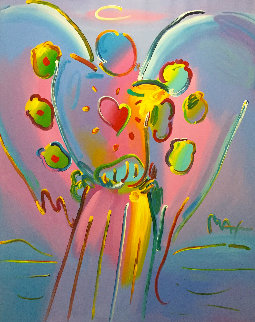 Angel With Heart 72x60 Original Painting by Peter Max