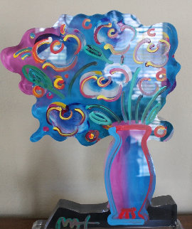 Vase of Flowers Acrylic Sculpture Unique 2015 16 in Sculpture - Peter Max