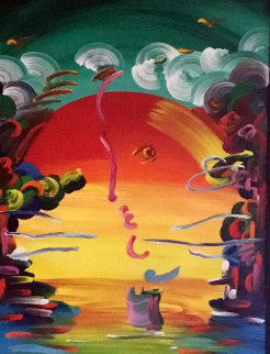 Better World  Unique 2007 70x40 Original Painting - Peter Max