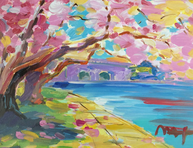 Cherry Blossom  2014 25x29 Original Painting by Peter Max