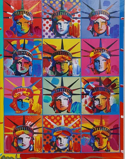 Liberty And Justice For All Unique 2001 31x37 Works on Paper (not prints) by Peter Max