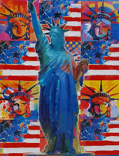 God Bless America - With Five Liberties Unique 2001 37x31 Works on Paper (not prints) by Peter Max