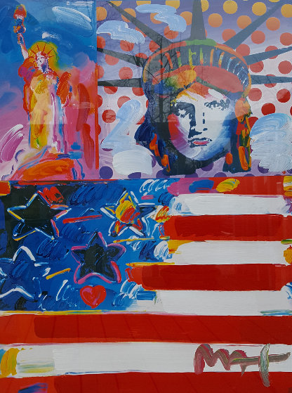 God Bless America II Unique 2001 37x31 Works on Paper (not prints) by Peter Max