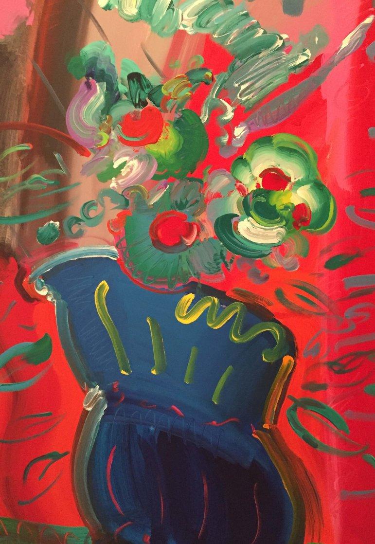 Vase 1988 52x40 Super Huge Original Painting by Peter Max