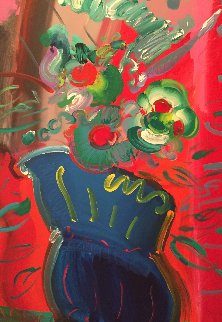 Vase 1988 52x40 Original Painting - Peter Max