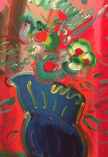 Vase 1988 52x40  Huge Original Painting - Peter Max