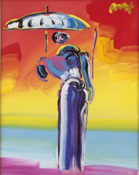 Umbrella Man with Cane 2001 42 X 36 Unique Works on Paper (not prints) by Peter Max