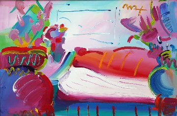 Lady in Repose Unique 1999 26x38 Original Painting by Peter Max
