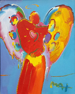Angel With Heart 1995 21x17 Original Painting - Peter Max