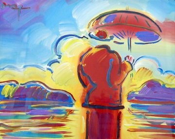 Umbrella Man At Sea / Umbrella Man With Landscape  Unique 30x34 Original Painting - Peter Max