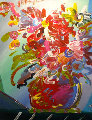 Untitled Bouquet  Unique  2000 20x23 Original Painting - Peter Max