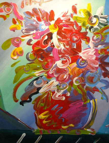 Untitled Bouquet  Unique  2000 20x23 Original Painting by Peter Max