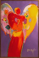 Red Angel With Heart III Unique 2007 48x36 Super Huge Works on Paper (not prints) by Peter Max - 1