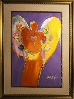 Red Angel With Heart III Unique 2007 48x36 Super Huge Works on Paper (not prints) by Peter Max - 2