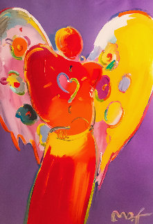 Red Angel With Heart III Unique 2007 48x36 Huge Works on Paper (not prints) - Peter Max