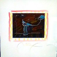 Seven Dreams: Dream 5, Solo Kite Flyer Monoprint  1997 26x24 Works on Paper (not prints) by Peter Max - 2